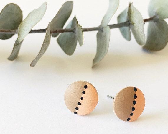 Wood Stud Earrings, Coral, Tan + Black