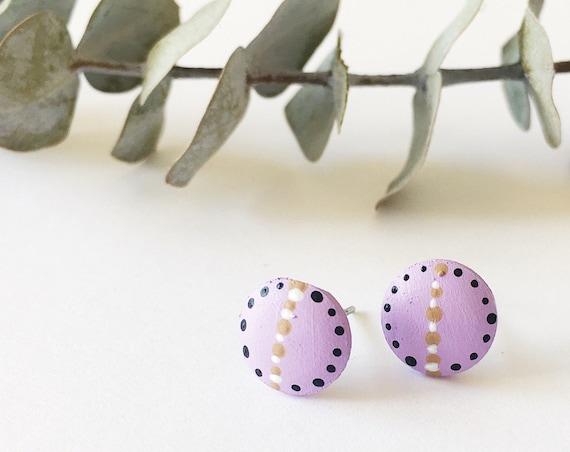 Wood Stud Earrings, Lilac, White, Tan + Black