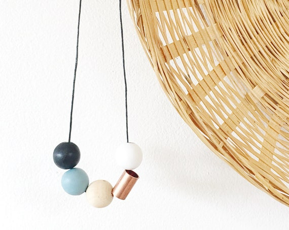 Wood + Copper Bead Necklace, Blue, White, + Black