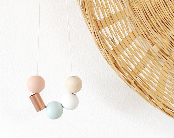 Wood + Copper Bead Necklace, Blue, White + Nude
