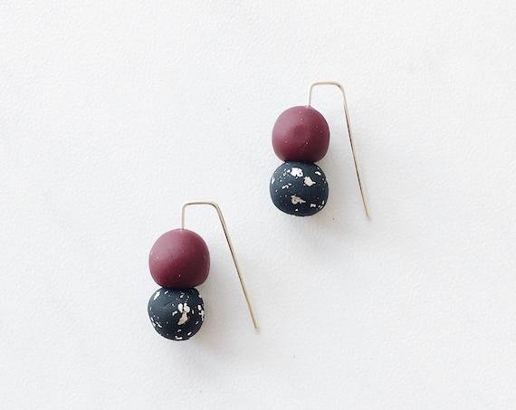 Clay Threader Earrings, Maroon + Black