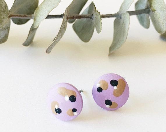 Wood Stud Earrings, Lilac, Black, White + Tan