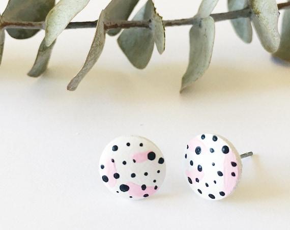 Wood Stud Earrings, White, Black + Pink