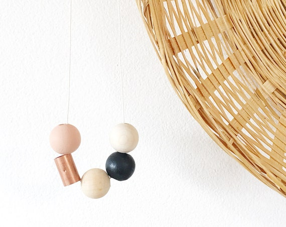 Wood + Copper Bead Necklace, Nude + Black