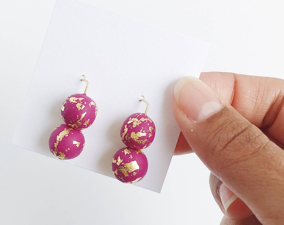 Clay Threader Earrings, Voilet + Gold