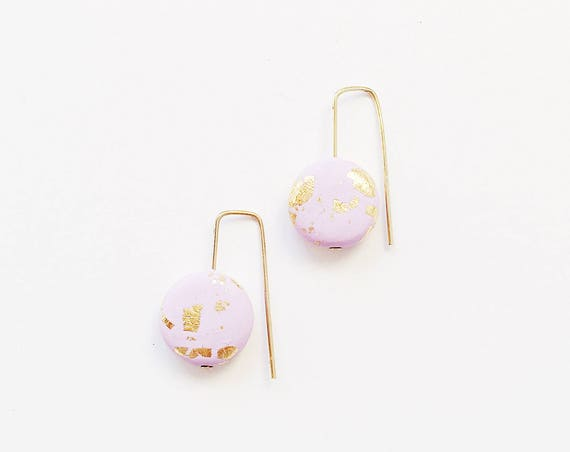Clay Threader Earrings, Lilac + Gold