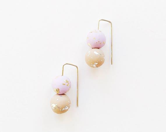 Clay Threader Earrings, Lilac + Beige