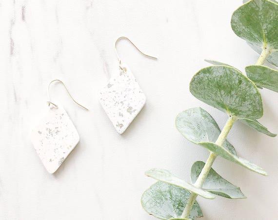 Clay Drop Earrings, White + Silver