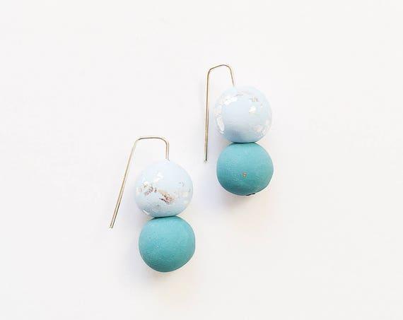 Clay Threader Earrings, Teal + Sky Blue