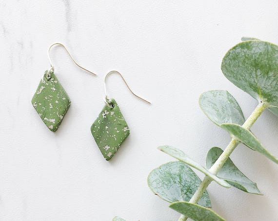 Clay Drop Earrings, Olive Green + Silver