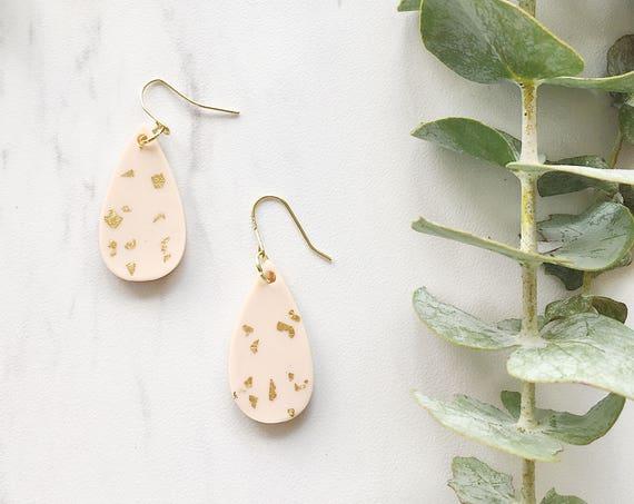 Clay Drop Earrings, Blush + Gold