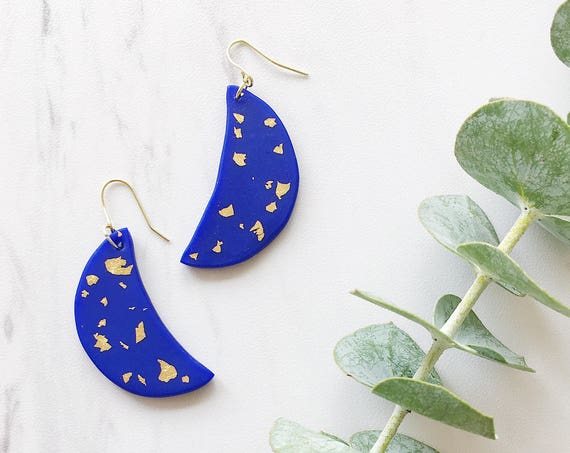 Clay Crescent Earrings, Blue + Gold
