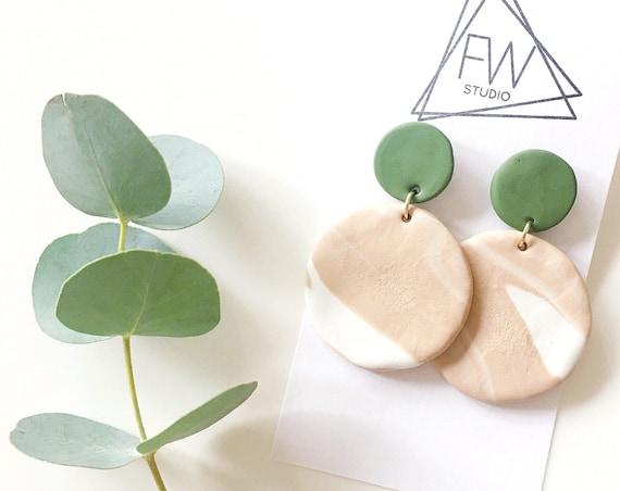 Clay Drop Earrings, Olive Green + Tan Marble