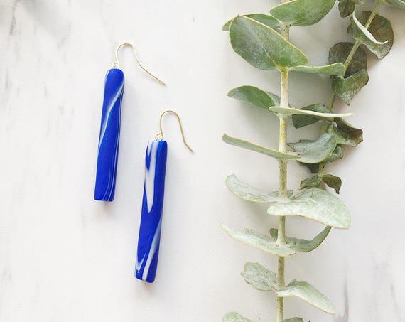 Clay Drop Earrings, Blue + Beige