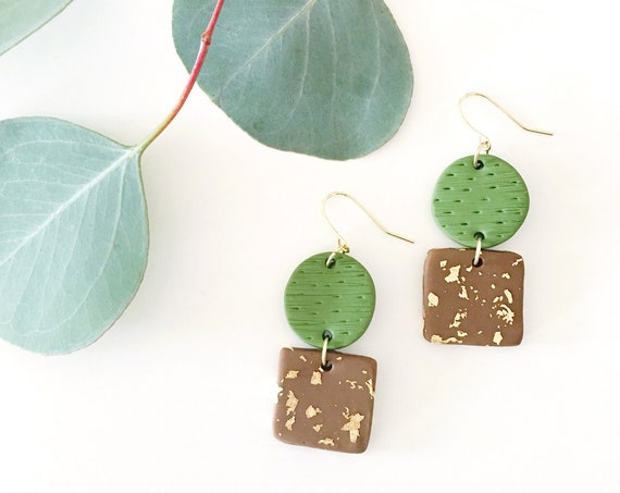 Clay Drop Earrings, Olive Green, Chocolate + Gold