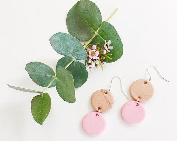 Clay Drop Earrings, Rose Bronze + Pink
