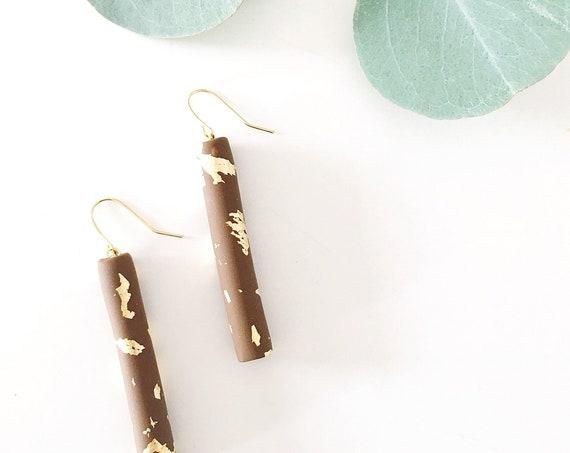 Clay Drop Earrings, Chocolate + Gold