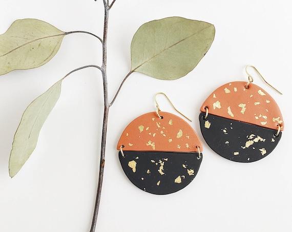 Clay Drop Earrings, Cooper, Black + Gold
