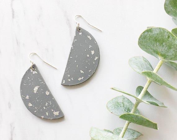 Clay Half Moon Earrings, Gray + Silver
