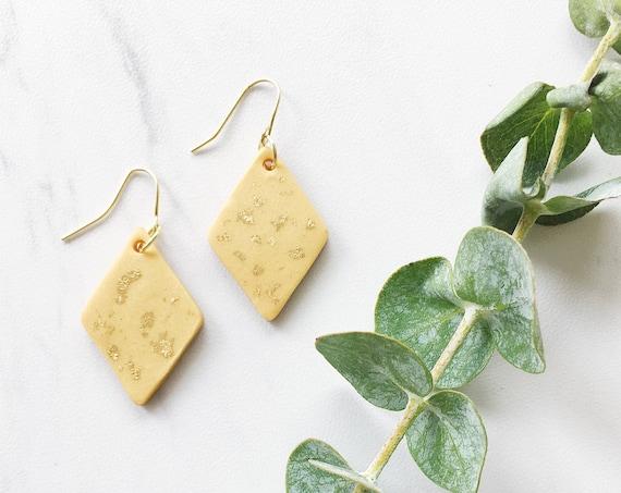 Clay Drop Earrings, Gold