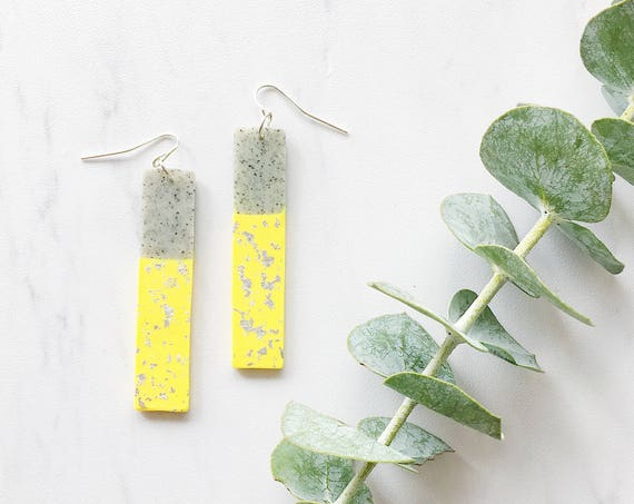Clay Drop Earrings, Yellow + Granite