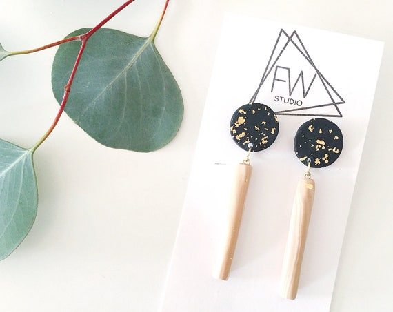 Clay Drop Earrings, Black, Gold + Tan Marble