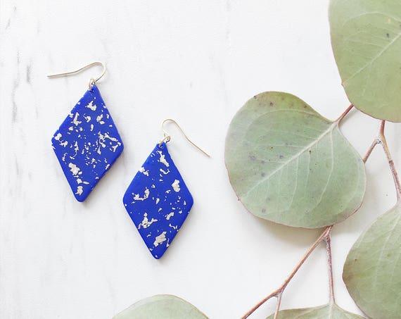 Clay Drop Earrings, Blue + Silver
