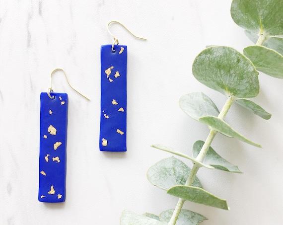 Clay Drop Earrings, Blue + Gold