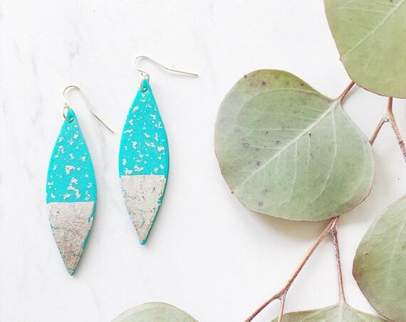 Clay Drop Earrings, Teal + Silver