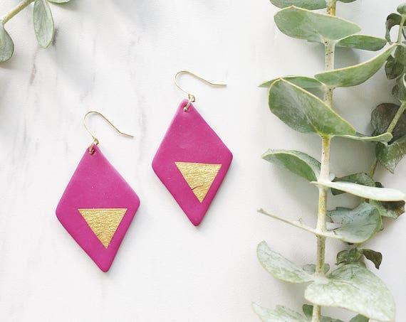 Clay Drop Earrings, Violet + Gold