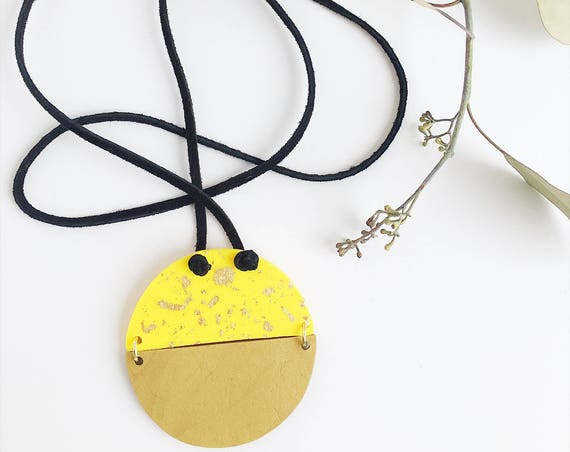 Clay Bead Necklace, Leather Cord, Yellow + Gold