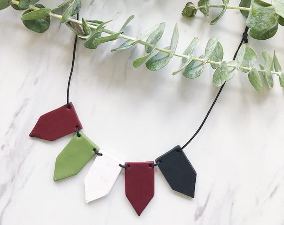 Adjustable Clay Bead Necklace, Organic Cotton Cord, Maroon, Black, Olive Green + White