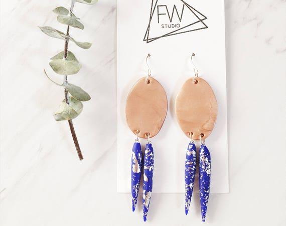 Clay Drop Earrings, Blue, Silver + Rose Bronze