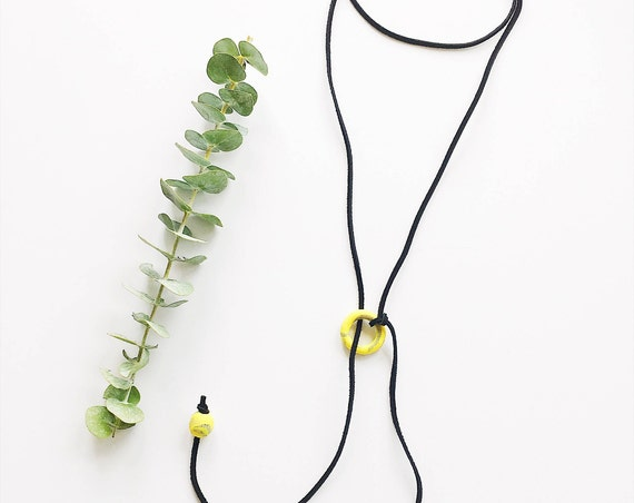 Wrap Choker, Leather Cord + Clay Beads, Yellow + Gray