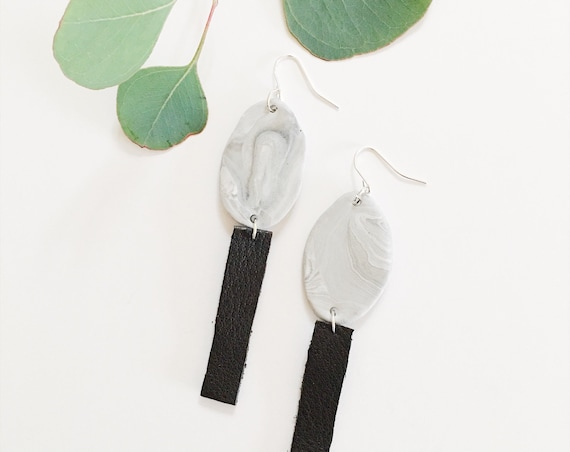 Clay + Leather Drop Earrings, Marble + Black