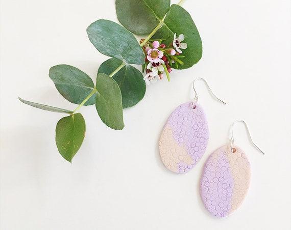 Clay Drop Earrings, Lilac + Blush