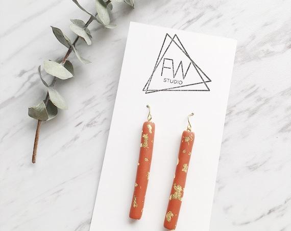 Clay Drop Earrings, Pumpkin Spice + Gold