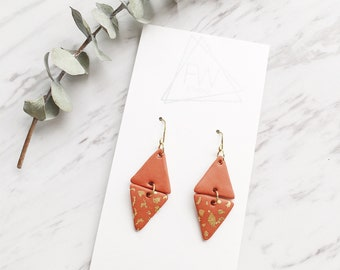 Clay Drop Earrings, Cooper + Gold