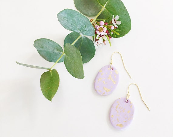 Clay Drop Earrings, Lilac + Gold