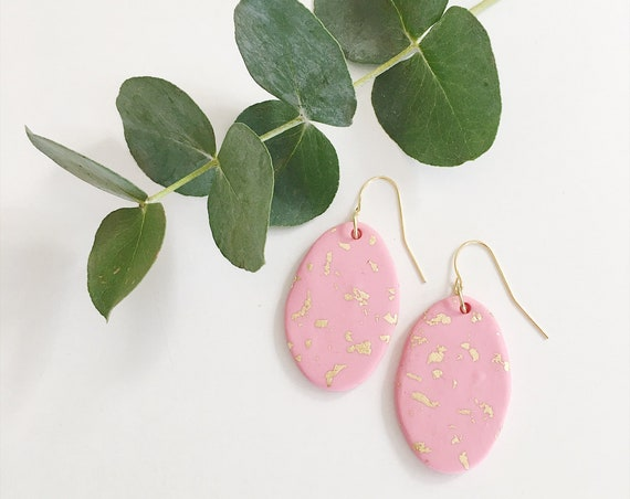 Clay Drop Earrings, Pink + Gold