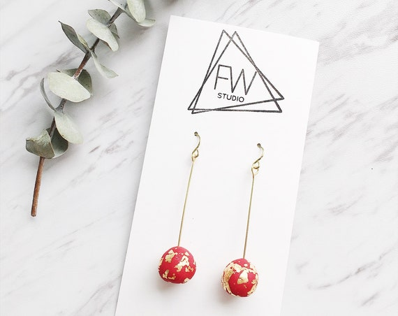 Clay Drop Earrings, Red + Gold