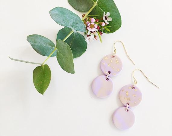 Clay Drop Earrings, Lilac, Blush + Gold