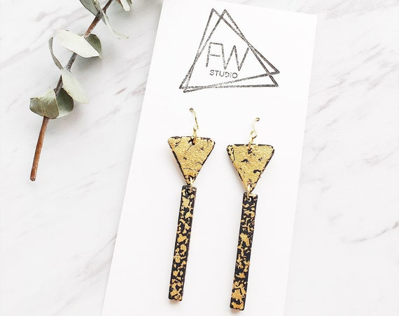 Clay Drop Earrings, Black + Gold