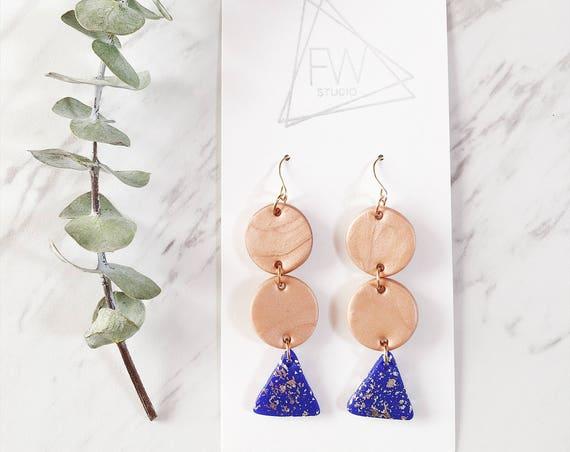 Clay Drop Earrings, Blue, Silver + Rosy Bronze