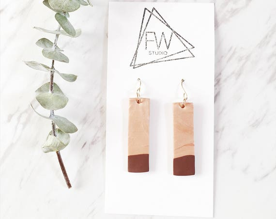 Clay Drop Earrings, Brown + Rose Bronze