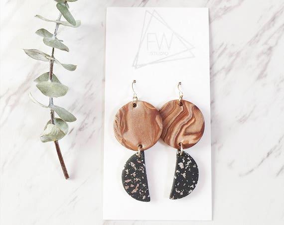 Clay Drop Earrings, Bronze, Black + Silver