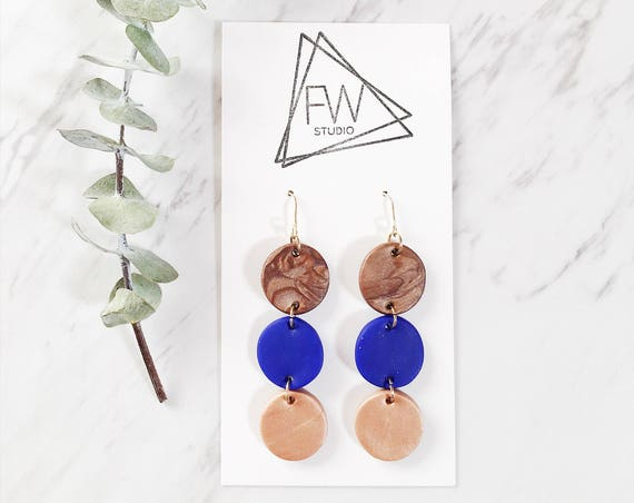 Clay Drop Earrings, Blue, Bronze + Rose Bronze