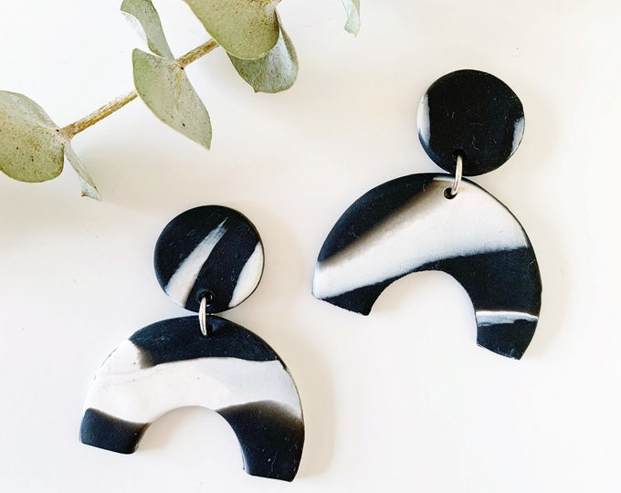 Featured listing image: Clay Drop Earrings, Black and White Marble