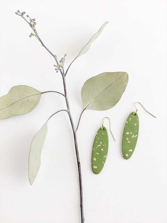 Clay Drop Earrings, Olive Green + Gold
