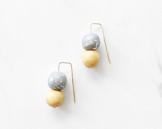 Clay Threader Earrings, Silver + Gold